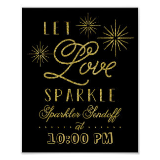 Glitter Let Love Sparkle | Sparkler Send Off Poster