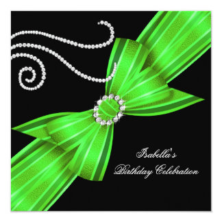 Glitter Lime Diamond Bow Black Birthday Party Card