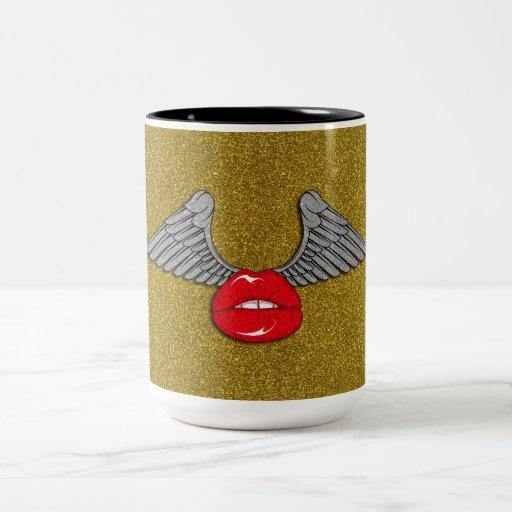 Glitter Lips with Wings Mugs
