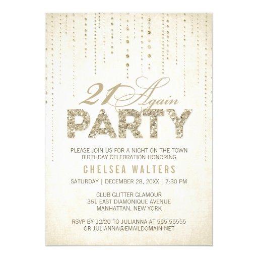 Glitter Look 21 Again Party Invitation