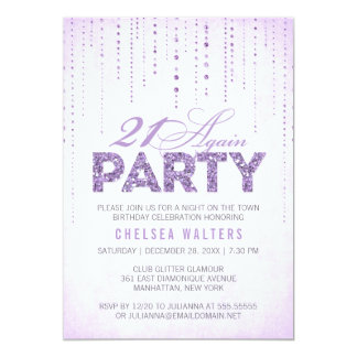 Glitter Look 21 Again Party Invitation