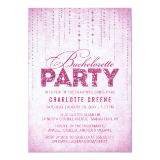 Glitter Look Bachelorette Party Invitation