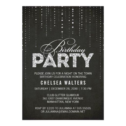 Glitter Look Birthday Party Invitation