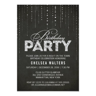 Glitter Look Birthday Party Invitation