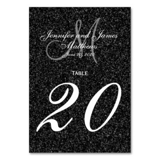 Glitter Look Black and White Monogram Table Number