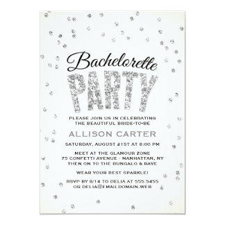 Glitter Look Confetti Bachelorette Party 5x7 Paper Invitation Card