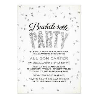 Glitter Look Confetti Bachelorette Party Invites