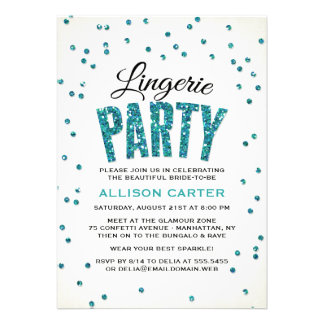 Glitter Look Confetti Lingerie Party Cards