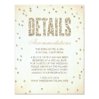"Glitter Look Confetti Wedding Details Card 4.25"" X 5.5"" Invitation Card"
