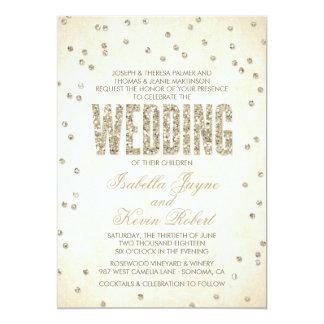 """Glitter Look Confetti Wedding Invitation 5"""" X 7"""" Invitation Card"""
