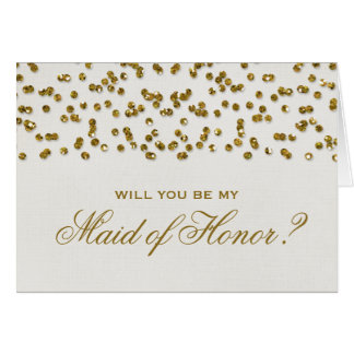 Glitter Look Confetti Will You Be My Maid of Honor Note Card