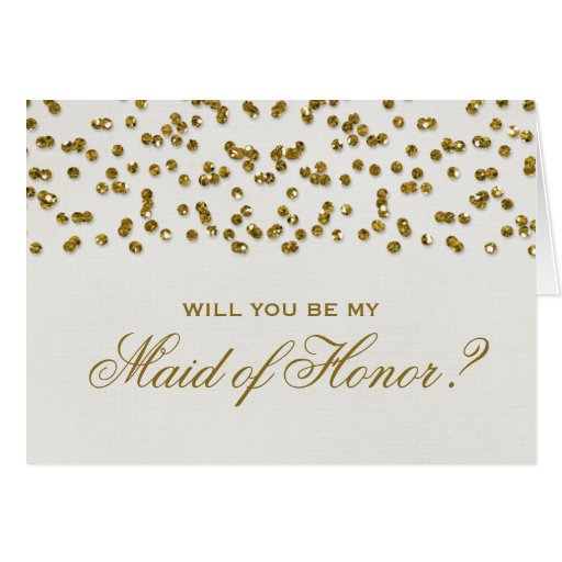 Glitter Look Confetti Will You Be My Maid of Honor Greeting Cards