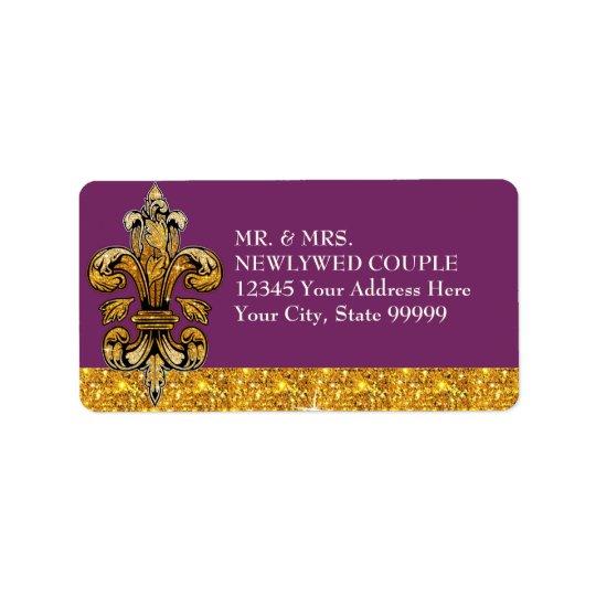 Glitter Look Faux Gold Black Formal Fleur de Lis Address Label