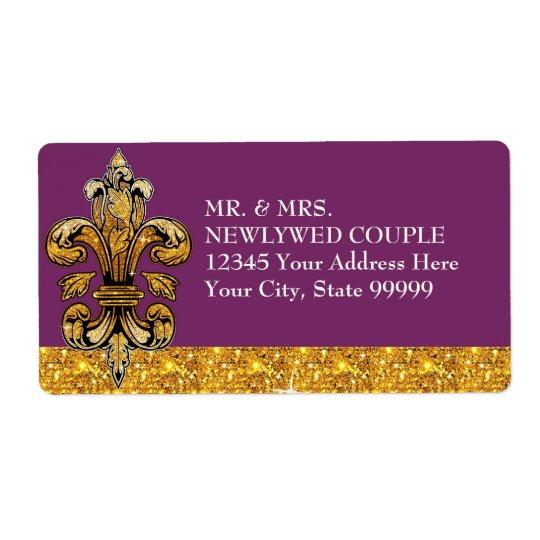 Glitter Look Faux Gold Black Formal Fleur de Lis Shipping Label