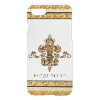 Glitter Look Faux Gold Black French Fleur de Lis iPhone 7 Case