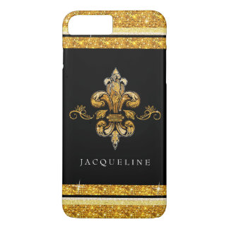 Glitter Look Faux Gold Black French Fleur de Lis iPhone 8 Plus/7 Plus Case