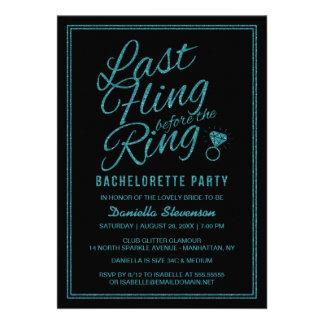 Glitter Look Last Fling Bachelorette Party Invite