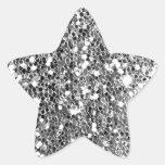 Glitter Look Solid Silver Sparkle Star Sticker