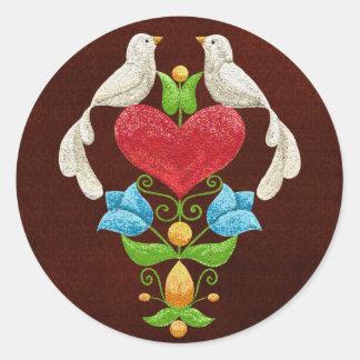 Glitter Lovebirds Classic Round Sticker