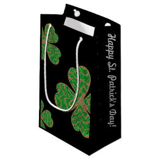 Glitter Lucky Green Leaf - Happy Day monogram Small Gift Bag