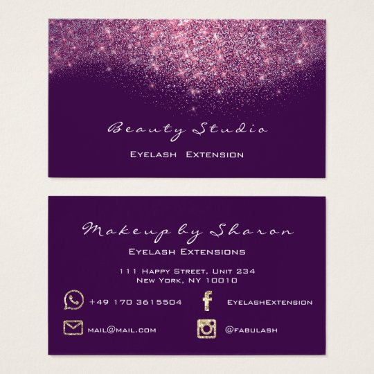 Glitter Makeup Artist Blogger Lash Purple Pink Business Card