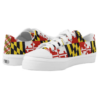 Glitter Maryland flag low top sneaker shoes Printed Shoes
