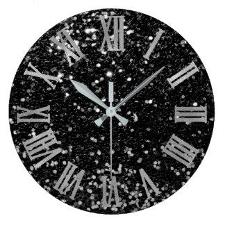Glitter Metallic Roman Numbers Silver Black Gray Large Clock