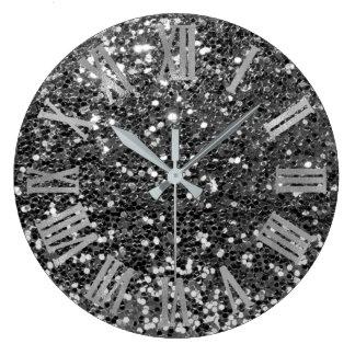 Glitter Metallic Roman Numbers Silver Graphit Gray Large Clock