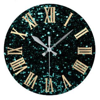 Glitter Metallic Roman Numbers Teal Cali Gold Large Clock