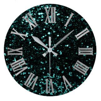 Glitter Metallic Roman Numbers Teal Deep Gray Large Clock