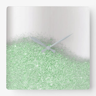 Glitter Mint Green Greenery Gray Minimal Metallic Square Wall Clock