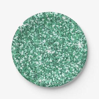 GLITTER   mint green Paper Plate