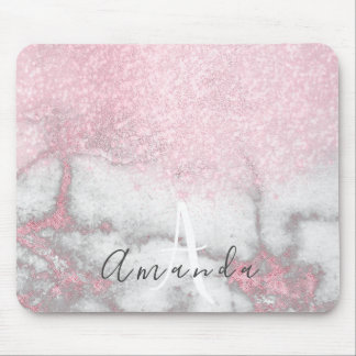 Glitter Monogram Makeup Artist Name Pink Marble Mouse Pad