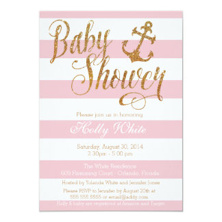 Glitter Nautical Girl Baby Shower Invitation