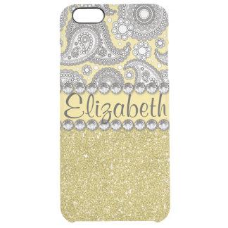 Glitter Paisley Rhinestone Print Pattern Clear iPhone 6 Plus Case