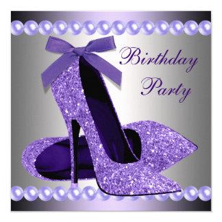 Glitter Pearls Purple High Heels Shoes Birthday 13 Cm X 13 Cm Square Invitation Card
