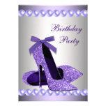 Glitter Pearls Purple High Heels Shoes Birthday Invite