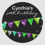 Glitter Pennant Flags 30th Birthday Celebration Round Sticker