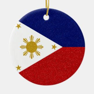 Glitter Philippines Flag with Custom Year Round Ceramic Decoration