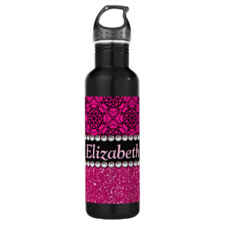 Glitter Pink and Black Pattern Rhinestones 710 Ml Water Bottle
