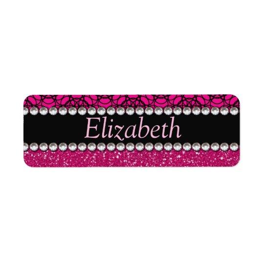 Glitter Pink and Black Pattern Rhinestones Return Address Label