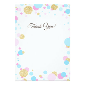 Glitter Pink Baby Shower Thank You Card Blue Blank