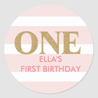 Glitter pink first birthday stickers