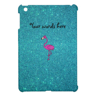 Glitter pink flamingo turquoise glitter case for the iPad mini