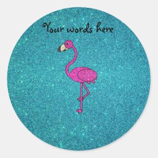 Glitter pink flamingo turquoise glitter round sticker