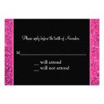 Glitter Pink Masquerade Sweet 16 Response Card