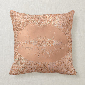 Glitter Pink Rose Gold Blush Sparkly Copper Lips Cushion