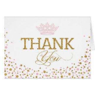 Glitter Pink Sprinkles Royal Princess Thank You Card
