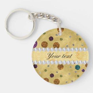 Glitter Polka Dots and Diamonds Double-Sided Round Acrylic Key Ring