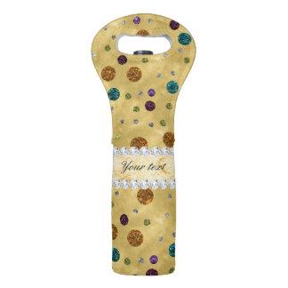 Glitter Polka Dots and Diamonds Wine Bag